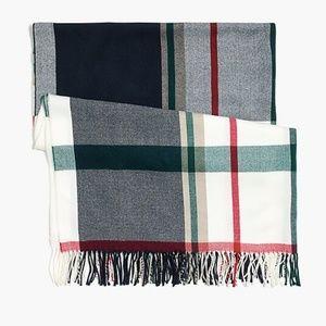 NWOT J. Crew plaid blanket scarf white red green